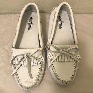 Minnetonka white leather moccasins